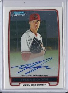 2012 Bowman Chrome Tyler Skaggs Base Chrome Auto Card - LA Angels