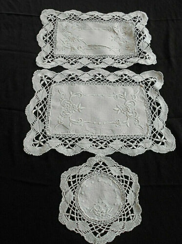 3-VTG/ANT LIGHT ECRU LINEN EMBROIDERED DOILIES~2 RECTANGLE & 1 ROUND