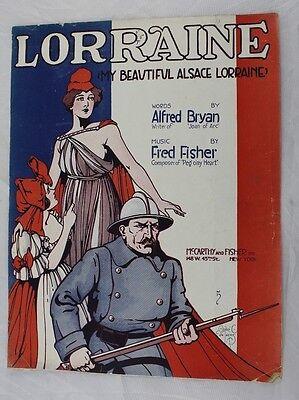 1917 WW1 Vintage My Beautiful Alsace Lorraine Alfred Bryan Song Sheet World War