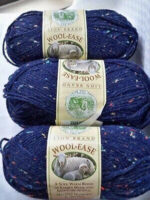 NWT Lion Brand Wool-Ease NAVY SPRINKLES Acrylic/Wool Blend 4 Ply Yarn-1 Skein 4 Ply Wool Yarn