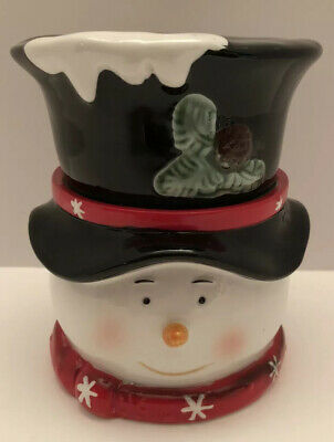 "Christmas Snowman Ceramic Cookie Candy Jar 6"" Tall"
