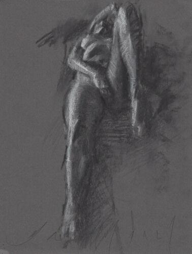 RESTLESS Female Nude Figure Study 6x8 Charcoal Drawing Naked Woman MODERN ART