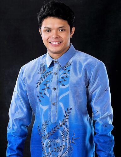 BARONG TAGALOG Filipino National Costume FILIPINIANA Formal Dress Men - Blue