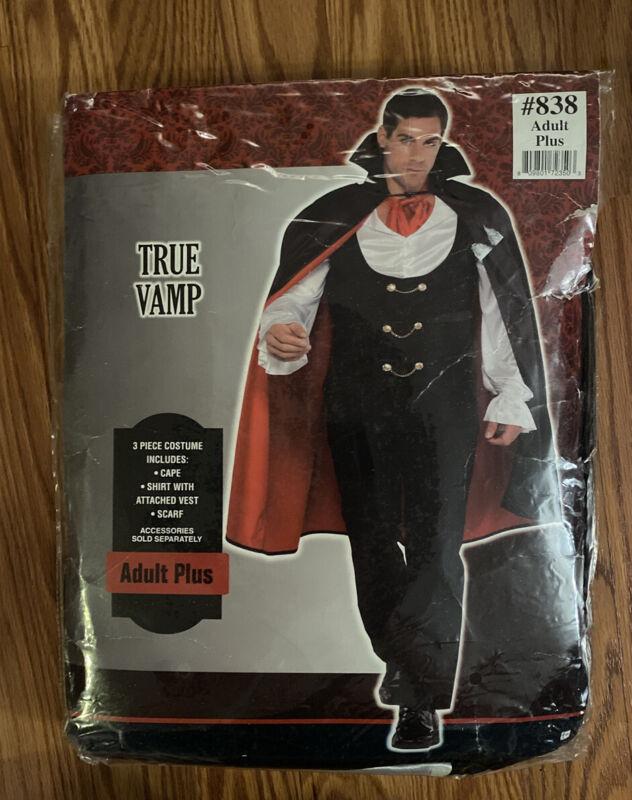 True Vampire Adult  Costume, Adult Plus Size Black - NWT