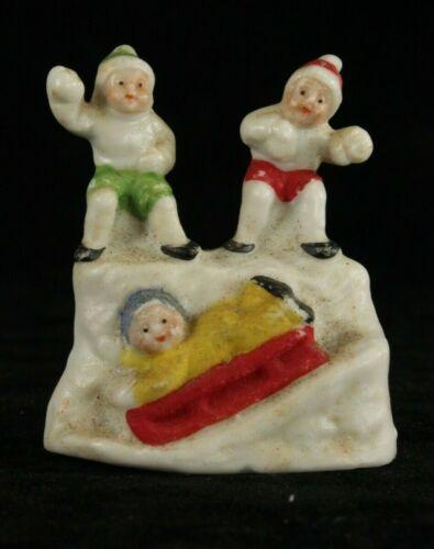 Bisque Snow Fight GERMANY Christmas SNOW BABY German Snowbabies Santa