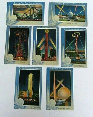 1939 New York World's Fair Night View Linen Greetings Postcards