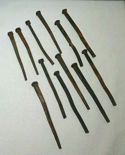 "LOT/12 ANTIQUE 5"" SQUARE HEADED SPIKES"