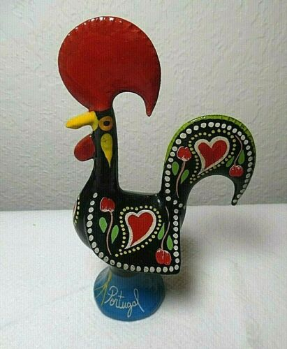 """HAND PAINTED ENAMELWARE METAL ROOSTER MADE IN PORTUGAL SIGN OF GOOD LUCK 5 1/2"""""""