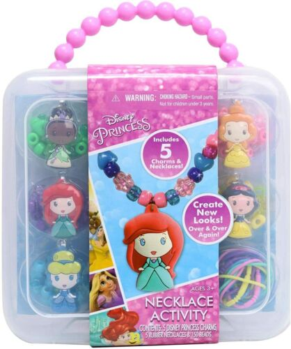 Princess Necklace Jewelry Activity Set Colorful Beads Charm Plastic Carry Case