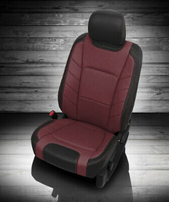 Medium Cherry Seat - 2017-2018 Ford F-250 XLT SuperCrew KATZKIN Leather Seat Covers Kit Medium Red