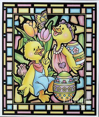 Vintage Easter Ducks Butterfly Egg Window Cling Sticker Shop Home Decor