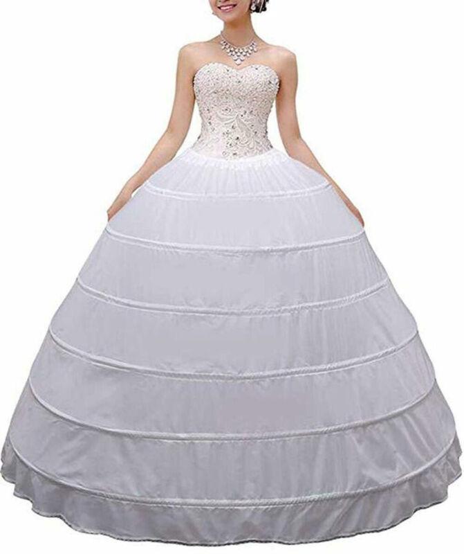 Wedding Petticoat Crinoline 6 Hoop Skirt White Women Long Ball Gown Underskirt
