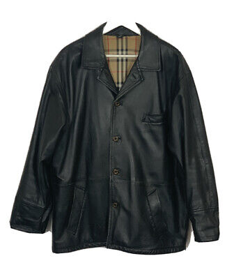 """Mens Vintage Burberry London Black Genuine Leather Casual Jacket 46"""" Pit To Pit"""