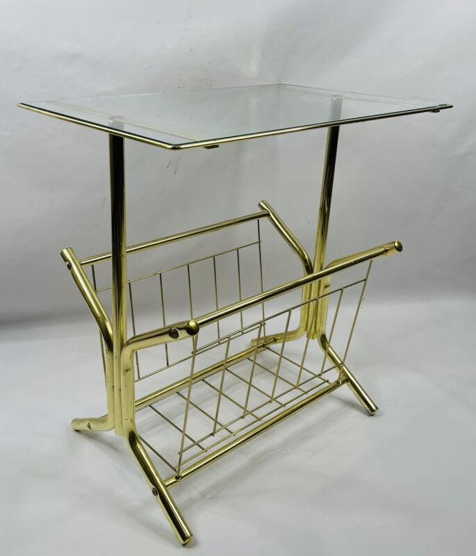 Vintage Mid Century Modern Hollywood Regency Brass Magazine Rack Table Glass Top