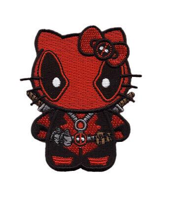 Hello Deadpool Kitty Big Mouth Maximum Effort Iron on Patch