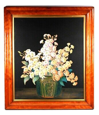 Antique Decoupage Victorian Flower Picture Maple Frame Circa 1890 Signed