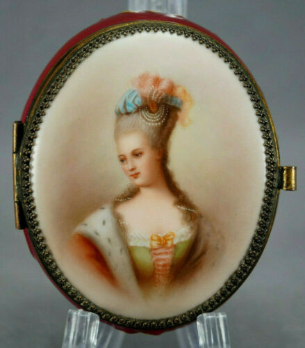 Volkstedt Hand Painted Madame Pompadour Portrait Maroon & Gold Trinket Box