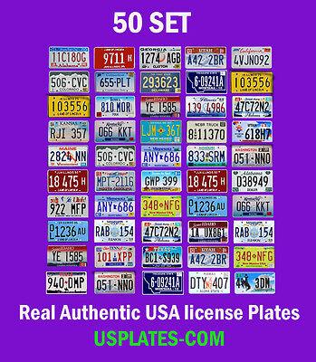 50 USA LICENSE PLATES SET AMERICAN NUMBER TAG LOT BEST VALUE ART DECOR COLOR MIX