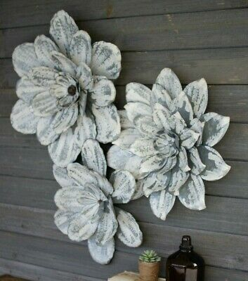 White Washed Metal Wall Flowers Large Rustic Hanging Wall Flower Decor Set of (Metal Wall Hanging Set)