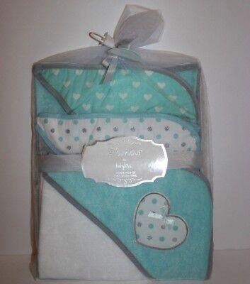 Lamour baby kiss 3 pack hooded towel set Teal white gray hearts polka dots NWT