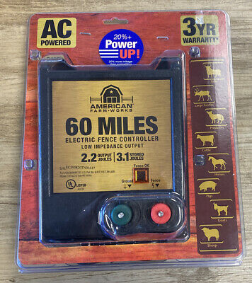 American Farm-works 60 Miles Low-impedance Electric Fence Controller Used