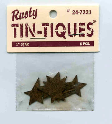 "PRIMITIVE RUSTY TIN TIQUES 1"" STARS Pkg of 6  on Rummage"
