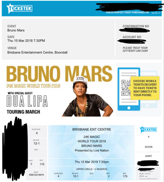 Selling  Bruno Mars Tickets Brisbane Th
