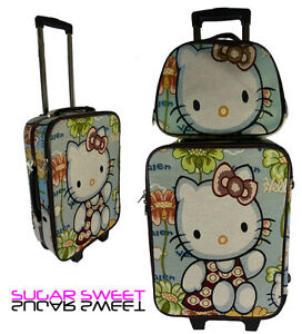 Blue HELLO KITTY Trolly Suitcase Holdall Hand Luggage Bag Weekend Bag