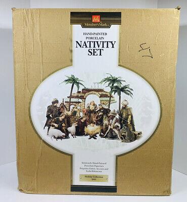Members Mark Hand Painted 16 Piece Porcelain Nativity Set 2005 In Original Box