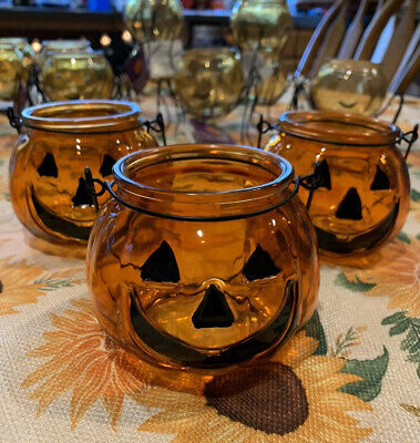Halloween Tea Light Jars (3 Halloween Pumpkin Glass Jar Candle Holder Votive Tea Light Jar)