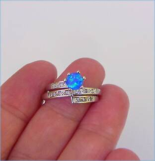 BLUE FIRE CREATED OPAL 925 SILVER STACKER RINGS SIZE AUS O - US 7