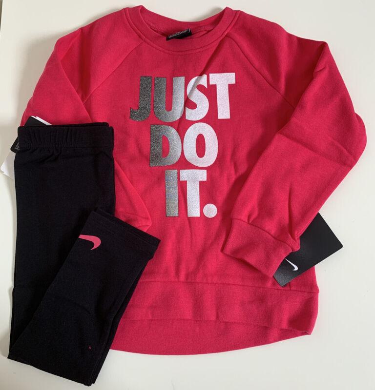 NWT Nike Little Girls 2 Piece Just Do It Sweatshirt & Legging Set Black Sz 6X