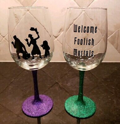 2 Handmade Haunted Mansion Hitchhiking Ghosts Disney Wine Glasses Glitter