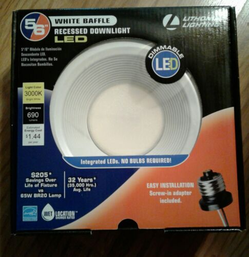Lithonia Lighting E-series 5 In 6 In White Recessed Led Light Baffle Modul 3000k