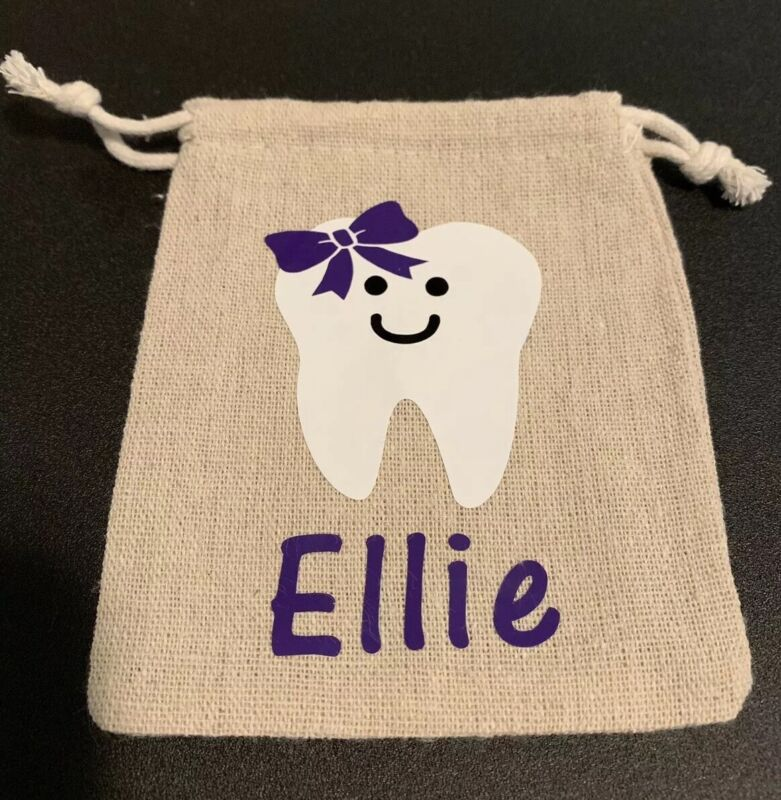 Personalized Tooth Fairy Bag Girl Or Boy You Pick Color Name Teeth
