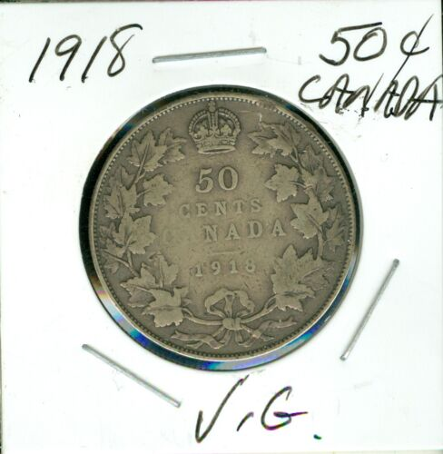 1918 CANADA SILVER 50 CENTS VERY GOOD
