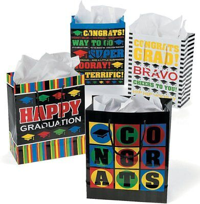 Paper Medium Graduation Gift Bags - 12 Bags in Assorted Styles  - Graduation Gift Bags