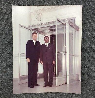 John F. Kennedy JFK Liberian President William Tubman Original Press Photo A6
