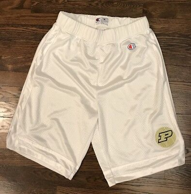 Vintage Purdue Boilermakers Champion Gym Basketball Shorts Mens Medium White