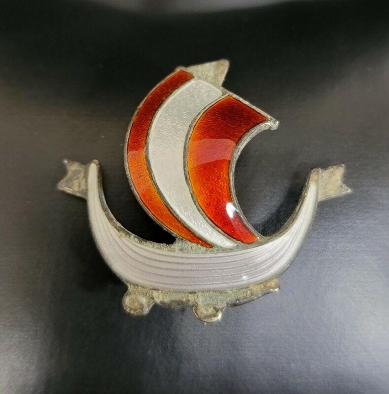 AKSEL HOLMSEN NORWAY 925 Silver Vintage Enamel Sail Boat Brooch Estate Pin