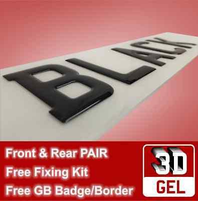 Pair of 3D Resin Gel Raised Domed UK Registration Licence Number Plate Plates 20