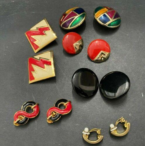 Vintage Strawberry Baked Enamel Clip Style Earrings