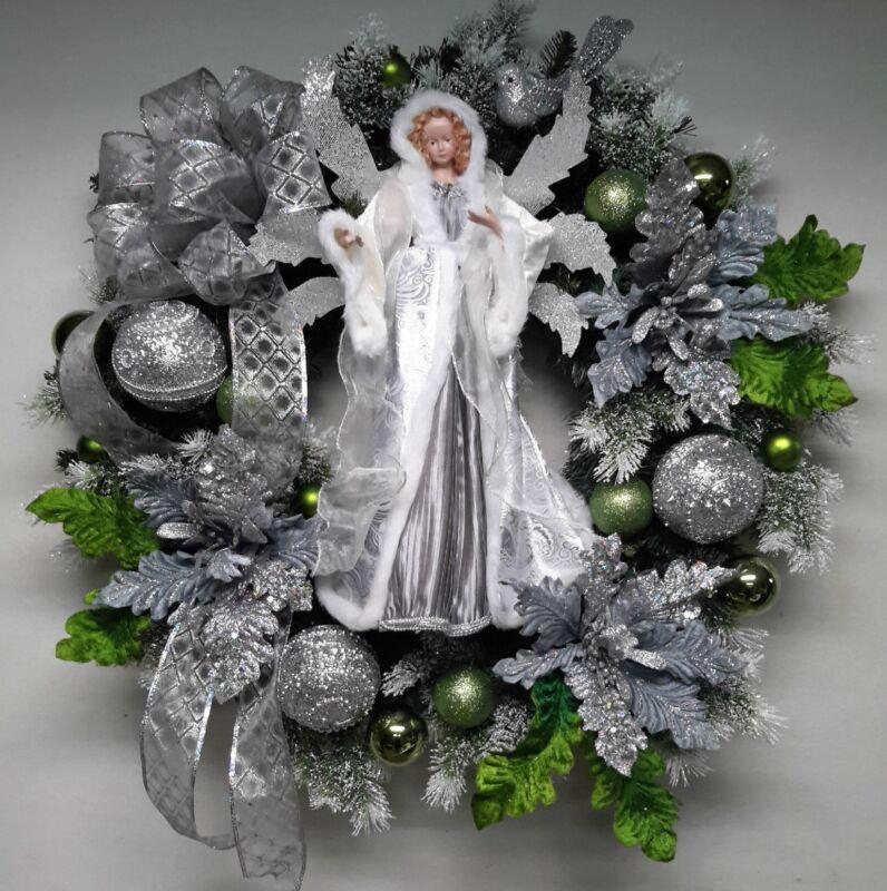 Christmas Holiday Wreath Winter Wreath Wall Door Decoration Silver  Angel Wreath