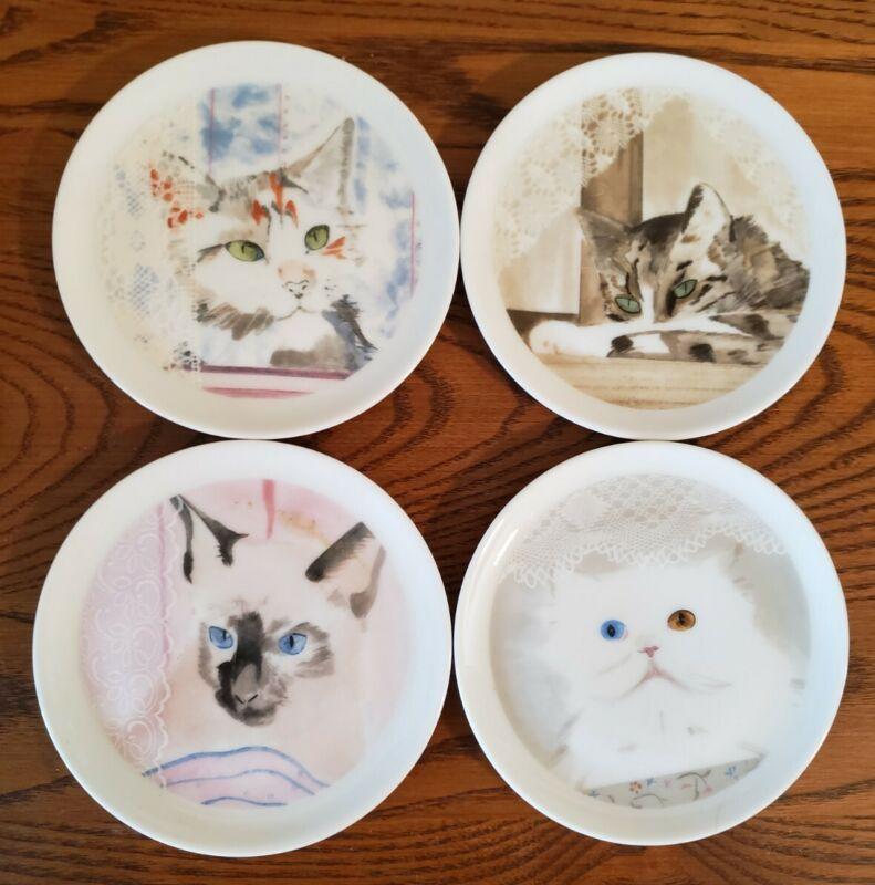"""4 Collection Coeur MINOU-ETTES CATS 4"""" Porcelain COASTERS  Plates PRADELIE"""