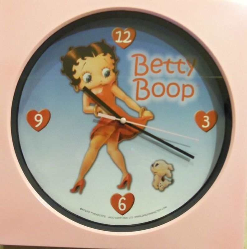 Betty Boop Square Pink Wall Clock Round Betty & Her Puppy Blue Dial Heart Hours!