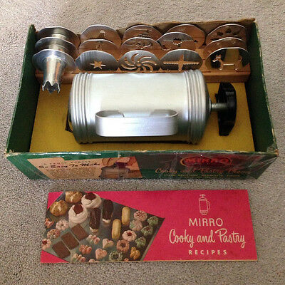 Vintage Mirro Foley (15) pieces Cookie Cooky Pastry Press With Recipe Book