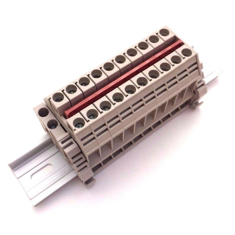 Power Distribution Terminal Blocks 10 Connector DIN Rail Dinkle 8AWG 50A 600V