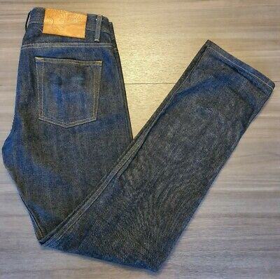 Naked and Famous Denim Mens 33W x 34L WeirdGuy Left Hand Twill Selvedge Indigo