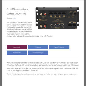 A-H4 1 Source 4 Zone Surface Mount Audio Hub