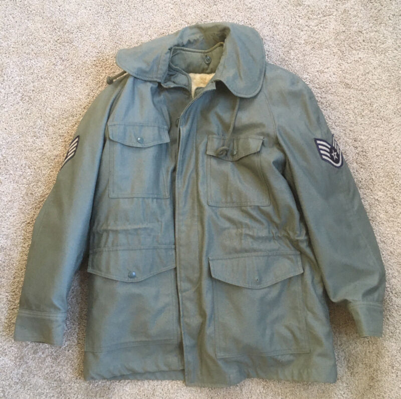 USAF Air Force Sage Green 509 Gray Sateen Field Jacket With Liner 1950s Early